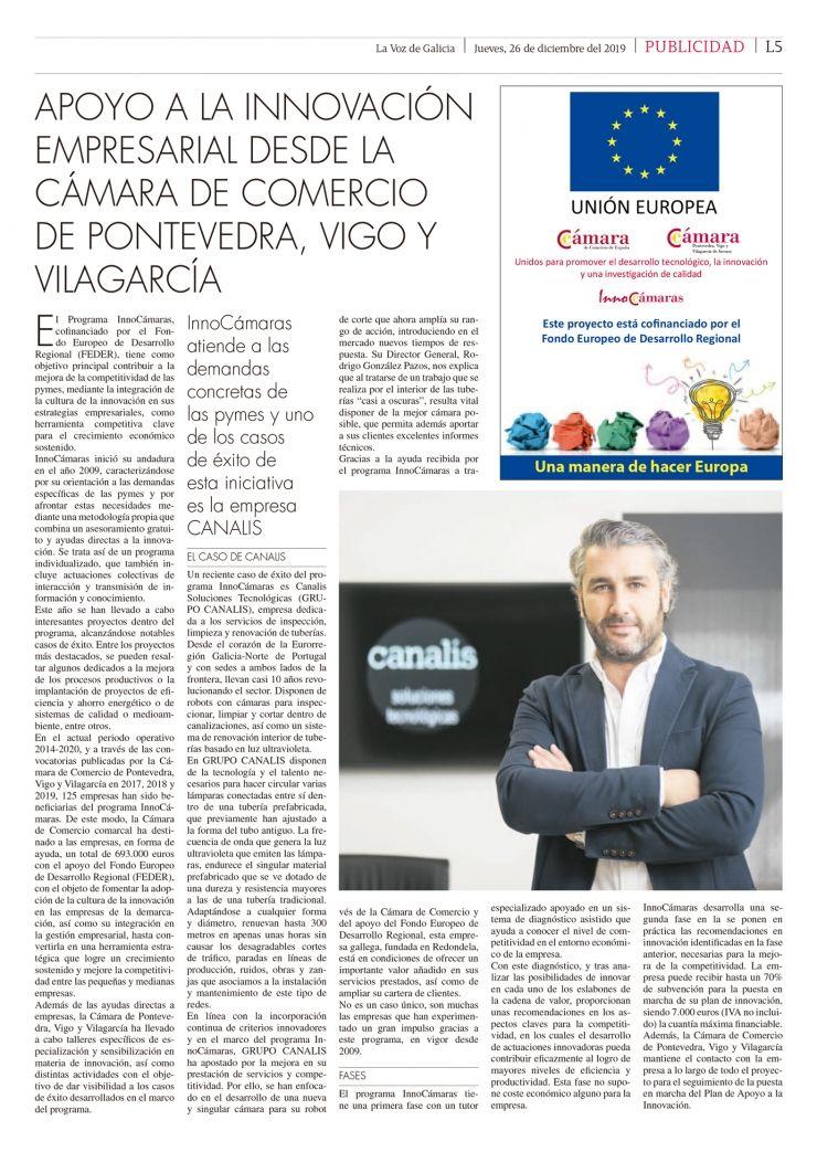GRUPO CANALIS caso de éxito en  el programa InnoCámaras (Pontevedra)