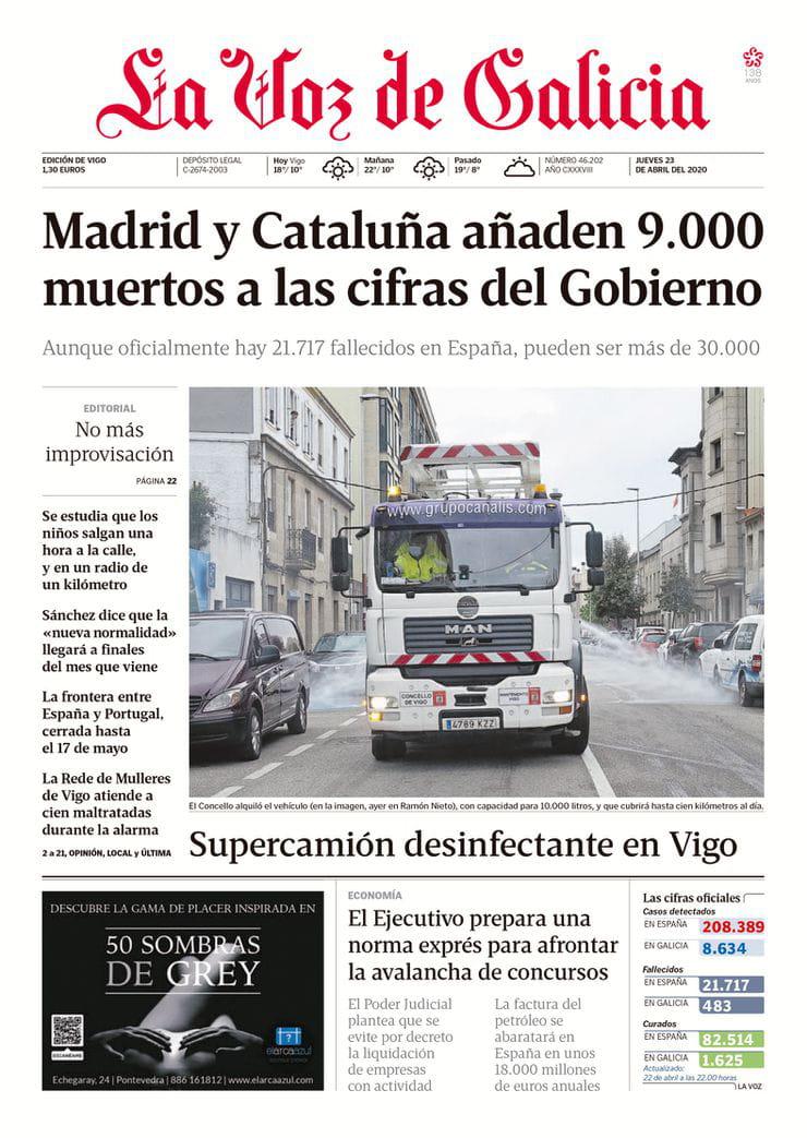 GRUPO CANALIS portada de La Voz De Galicia Abril 2020