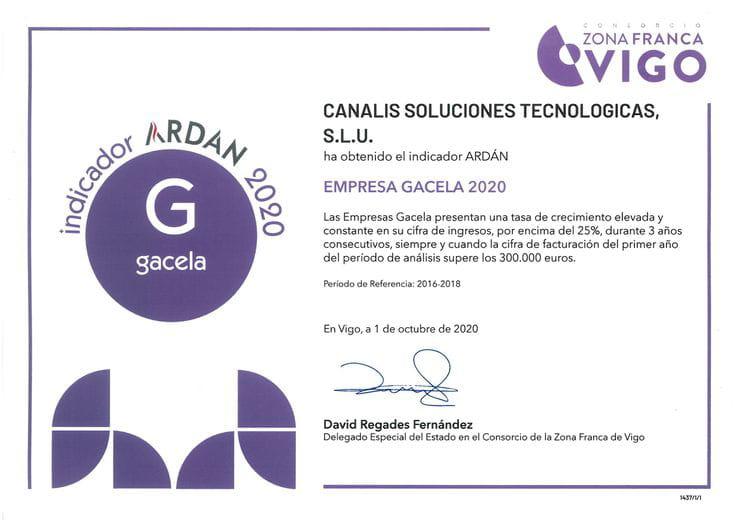 GRUPO CANALIS es reconocido por ARDÁN como EMPRESA GACELA (Vigo)